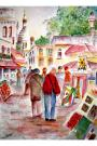 """Montmartre"", watercolor, 16 x 20, double white mat,in gold metal frame..$325"
